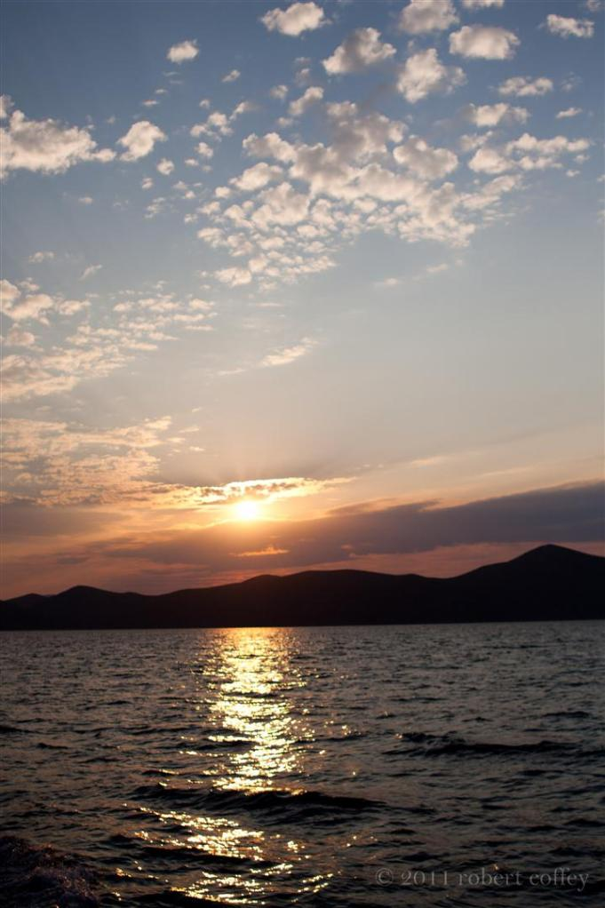 sunset over Turkey from aboat